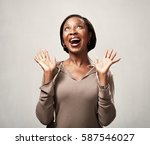 happy black woman | Shutterstock . vector #587546027