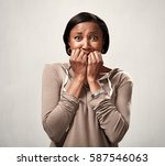 scared black woman. | Shutterstock . vector #587546063