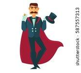circus illusionist magician... | Shutterstock .eps vector #587557313