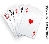 A Poker Hand Full House Three...