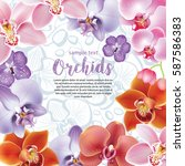 greeting card with orchids... | Shutterstock .eps vector #587586383