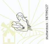 family icon  mother with baby ... | Shutterstock .eps vector #587590127