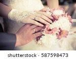 bride groom and wedding rings | Shutterstock . vector #587598473