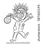 funny zombie mad scientist... | Shutterstock .eps vector #587602193