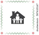 family in house vector icon.... | Shutterstock .eps vector #587610167
