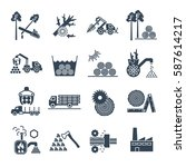 set of black icons logging and... | Shutterstock .eps vector #587614217