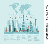 smart city flat. cityscape... | Shutterstock .eps vector #587615747