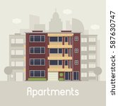 apartment building front view... | Shutterstock .eps vector #587630747