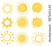 set of symbols of the sun. hand ... | Shutterstock .eps vector #587631143
