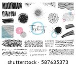 set of scribble elements and... | Shutterstock .eps vector #587635373