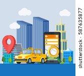 online taxi service. banner in... | Shutterstock .eps vector #587635877
