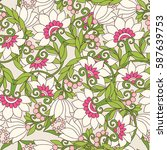 seamless floral vintage pattern ... | Shutterstock .eps vector #587639753