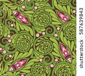 seamless floral vintage pattern ... | Shutterstock .eps vector #587639843