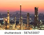 industrial view at oil refinery ... | Shutterstock . vector #587653007