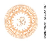 om symbol with hand drawn... | Shutterstock .eps vector #587655707