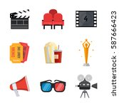 cinema icons in flat style. | Shutterstock .eps vector #587666423