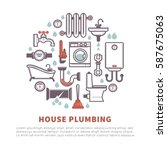 house plumbing vector poster of ... | Shutterstock .eps vector #587675063