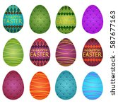 a set of colored easter eggs... | Shutterstock .eps vector #587677163