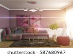 interior with sofa. 3d... | Shutterstock . vector #587680967