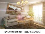 zero gravity sofa hovering in... | Shutterstock . vector #587686403