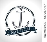 nautical frame with anchor | Shutterstock .eps vector #587707397