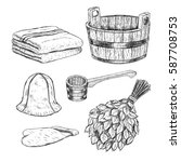 set for sauna. hand drawn items ... | Shutterstock .eps vector #587708753