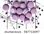 sweet lavender macaron french | Shutterstock . vector #587713097