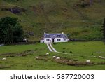 sheep farm and house in... | Shutterstock . vector #587720003