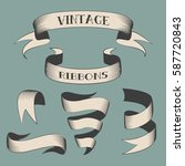 isolated set thin line ribbons... | Shutterstock .eps vector #587720843