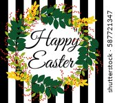 happy easter greeting striped... | Shutterstock .eps vector #587721347