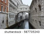 VENICE, ITALY , 23 FEBRUARY 2017: View from Bridge of Sighs with traditional venetian gondolas passing in the canal, Venice, Italy