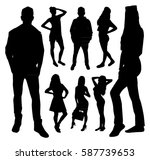 woman and man silhouettes | Shutterstock .eps vector #587739653