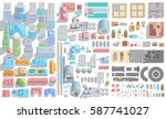 vector set of cityscape. city ... | Shutterstock .eps vector #587741027