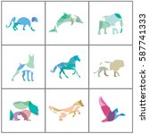 big set of colorful animal... | Shutterstock .eps vector #587741333