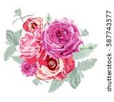 elegant floral bouquet  design... | Shutterstock . vector #587743577