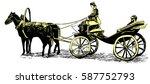vintage cab  hand drawn vector... | Shutterstock .eps vector #587752793