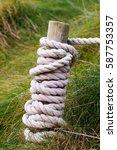carrick a rede rope bridge ... | Shutterstock . vector #587753357