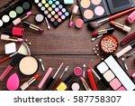 different makeup cosmetics on...   Shutterstock . vector #587758307