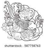 hand drawn outline koi fish... | Shutterstock .eps vector #587758763