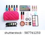 different makeup cosmetics... | Shutterstock . vector #587761253