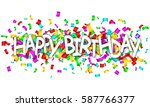 happy birthday white sign over... | Shutterstock .eps vector #587766377