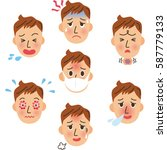 expression of illness | Shutterstock .eps vector #587779133
