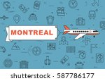 """airplane with banner """"montreal"""" ...   Shutterstock .eps vector #587786177"""