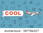 """airplane with banner """"cool"""" on...   Shutterstock .eps vector #587786327"""