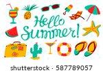 hello summer lettering. beach... | Shutterstock .eps vector #587789057
