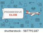 airplane with banner ...   Shutterstock .eps vector #587791187