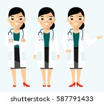 set of medical people woman ... | Shutterstock .eps vector #587791433