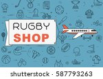 """airplane with banner """"rugby...   Shutterstock .eps vector #587793263"""