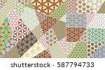 vector patchwork quilt pattern. ... | Shutterstock .eps vector #587794733