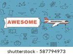 """airplane with banner """"awesome""""...   Shutterstock .eps vector #587794973"""